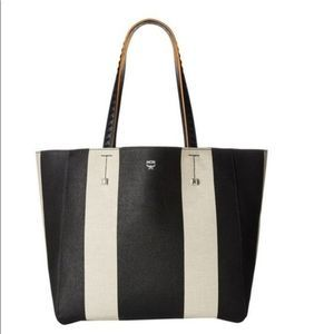 MCM NEW!!! Ilse EW Large Striped Canvas Tote Bag